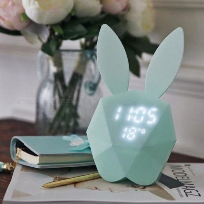 Cute Rabbit LED Night Light Bunny Digital Alarm Clock Sound Control Rechargeable Clock with Magnet can Hanging in the Wall Mint Green