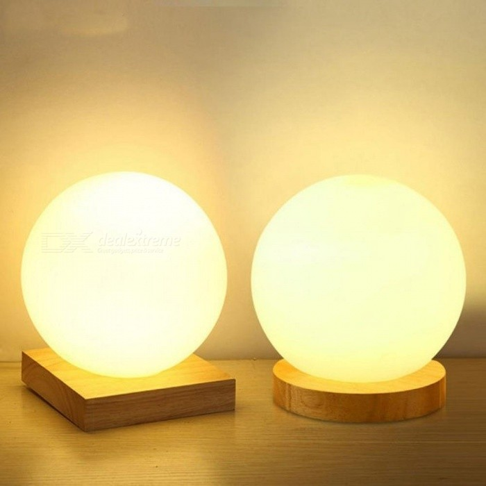 Simple-Glass-Creative-Warm-Dimmer-Night-Light-Desk-Bedroom-Bed-Decoration-Ball-Wooden-Small-Round-Desk-Lamp-15CM-Button-SwitchRound-Base