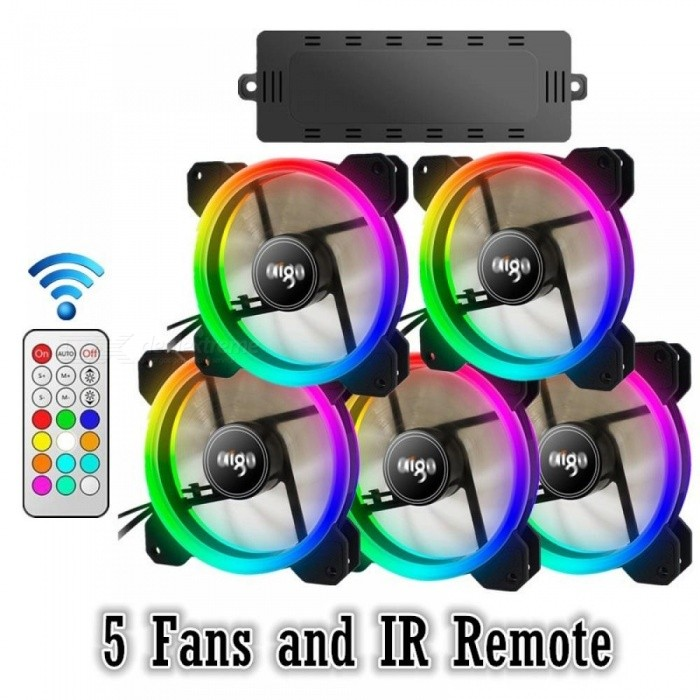 Image of Computer Case PC Cooling Fan RGB Adjust LED 120mm Quiet + IR Remote New computer Cooler Cooling RGB Case Fan CPU 3PCS 6 Fan And IR Remote