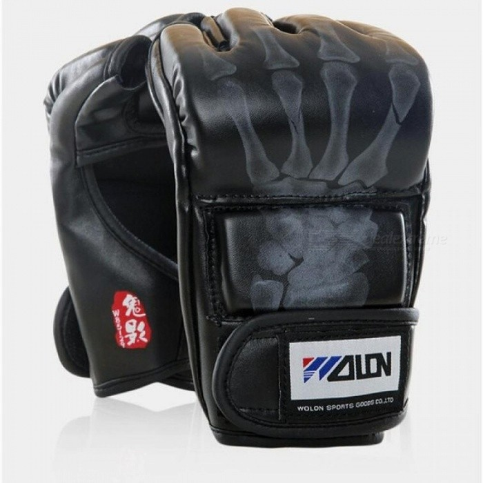 Grappling-MMA-Gloves-PU-Punching-Bag-Boxing-Gloves-BlackWhite-Color-Optional-With-PU-Leather-Material-Black