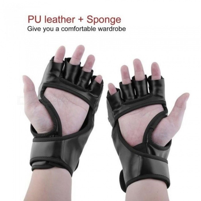 Boxing-Gloves-MMA-UFC-Sparring-Grappling-Fight-Boxing-Punch-Ultimate-Mitts-Leather-Gloves-Black-White-23-x-12cm-Black