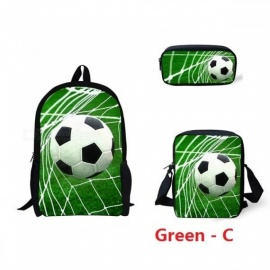 Casual 3PCS Children School Bags Cool 3D Fire and Ice Soccerly/Foot Ball Printed Primary Students Backpacks Satchels Green - D