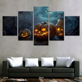 Modern Canvas HD Prints Home Decor Poster Wall Art 5 Pieces Halloween  Pumpkins Lamp Paintings For