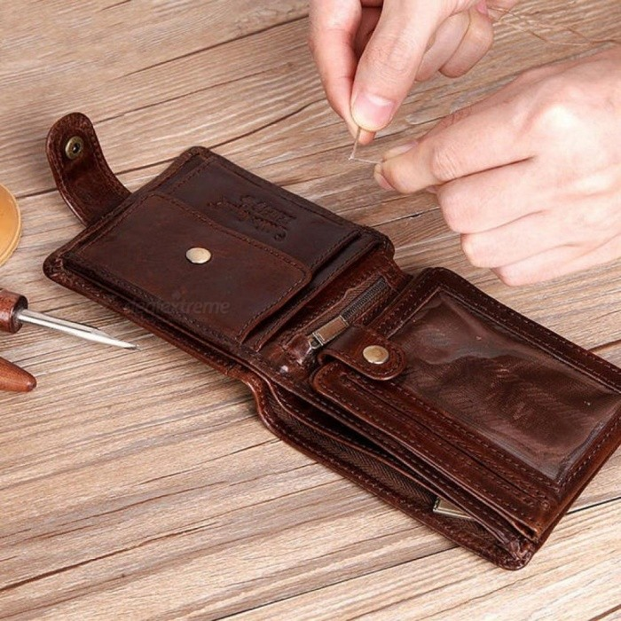 Legend-Real-Cowhide-Leather-Bifold-Clutch-Mens-Short-Wallets-Purses-Male-ID-Credit-Cards-Holder-Carteira-Masculina-Coffee