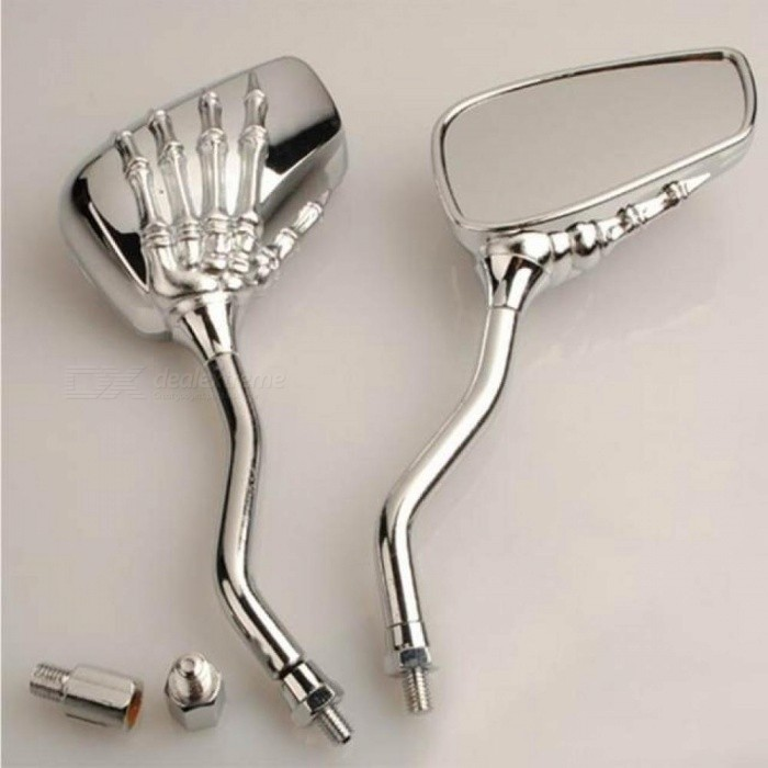 Universal-Chrome-Metal-Skull-Claw-Scooter-Rear-View-Mirrors-Pair-Moped-ATV-Motorcycle-Backup-Mirror-For-Honda-Kawasaki-A