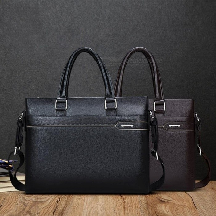 Business-Briefcase-Men-Genuine-Leather-Handbag-Work-Shoulder-Messenger-Bags-Leather-Crossbody-Bag-bLACK-Black