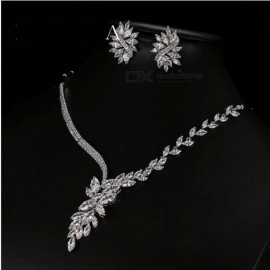 Unique Design Choker Necklace Stud Earrings Bridal Jewelry Sets Wedding Accessories  Cubic Zirconia Copper White/Platinum Plated