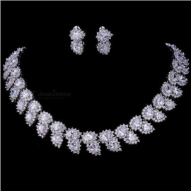 Wedding Jewelry Sets Bridal Necklace Set for Women Teardrop White Red Zircon Jewelry Set  White/Red Color Copper  red