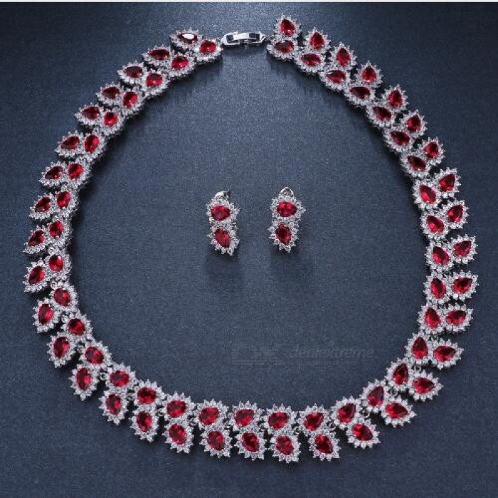Wedding Jewelry Sets Bridal Necklace Set For Women Teardrop White Red Zircon Color Copper