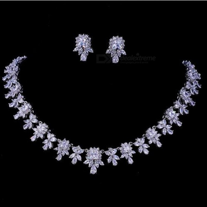 Women-AAA-Zircon-Little-Square-Clear-CZ-Bridal-Set-for-Luxury-Wedding-Choker-Necklace-Jewelry-Sets-Cubic-Zirconia-Copper-white
