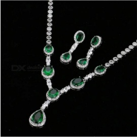 Gorgeous Micro Inlay Full CZ Stones Around Crystal Party Wedding Jewelry Sets For Women Cubic Zirconia  Copper 45cm/White/Platinum Plated
