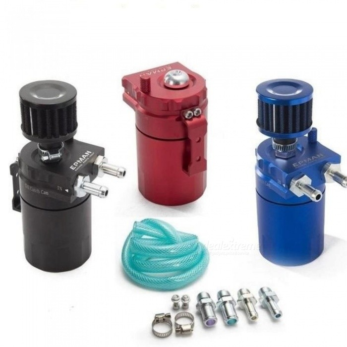 Universal-Aluminum-Oil-Catch-Can-Reservoir-Tank-400ml-Plus-Breather-Filter-With-Multi-Color-For-Option-Red