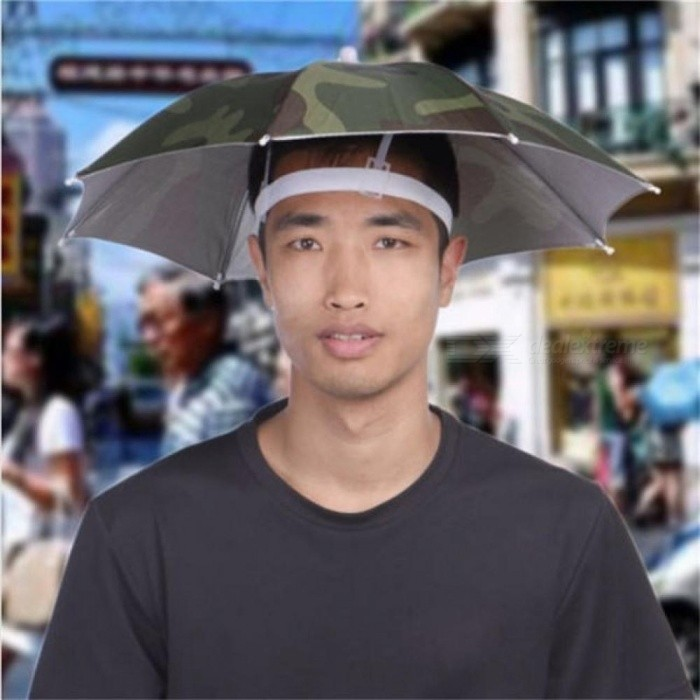 Buy Outdoor Foldable Sun Umbrella Hat Golf Fishing Camping Headwear Cap Head Hat Camouflage With Army Green L/Camouflage with Litecoins with Free Shipping on Gipsybee.com