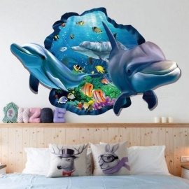 Underwater Fish Dolphin 3D Vivid Window Wall Stickers DIY Wall decals Bathroom Living Room Bedroom Home Decoration Poster A