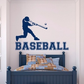 Baseball Player Wall Decal Gym Sports Wall Vinyl Stickers For Boys Bedroom Teens Kids Room College Wall Art Home Decor Mural 35X57cm/Blue