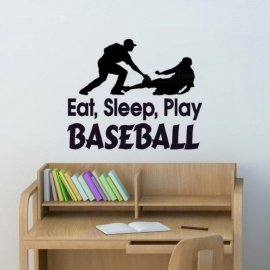 Baseball Players Silhouette Wall Stickers Sport Series Baseball Game Art Vinyl Wall Decals Mural Home Room Cool Decor 58x71cm/Black