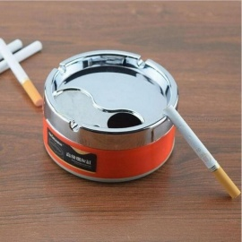 Home Used Colorful Pattern Ashtray Lid Rotation Fully Enclosed Metal Portable Removable Cleaning Medium Size Green