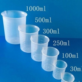 5PCS/Set Laboratory School Teaching Plastic Beaker Set 5 Graduated Polypropylene Beakers 5 Sizes 50ml,100ml, 250ml,500ml,1000ml 5pcs/Set