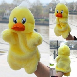 Kids Lovely Animal Plush Hand Puppets Childhood Soft Toy Duck Shape Story Pretend Playing Dolls Gift For Children Duck
