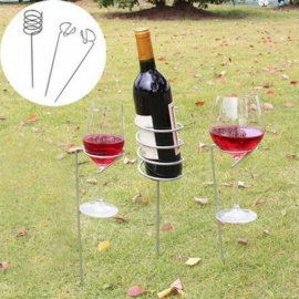 3pcs/Set Outdoor Wine Glass Bottle Holder Stake Set for BBQ Garden Picnic Camping Wine Stakes Rack Silver Silver