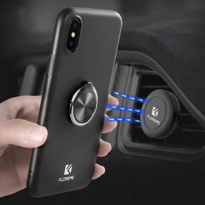 Luxury Ring Holder Phone Case for iPhone with Magnetic Car Stand Soft Silicone Matte Cover for iPhone 8 7 Plus For iPhone 8 Plus