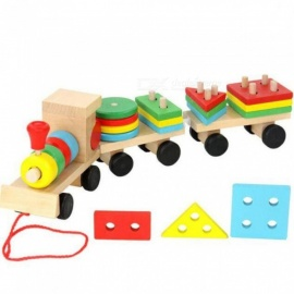 Baby Toys Kids Trailer Wooden Train Vehicle Blocks Geometry Colour Cognitive Blocks Child Education Birthday Christmas Gift Wooden Train