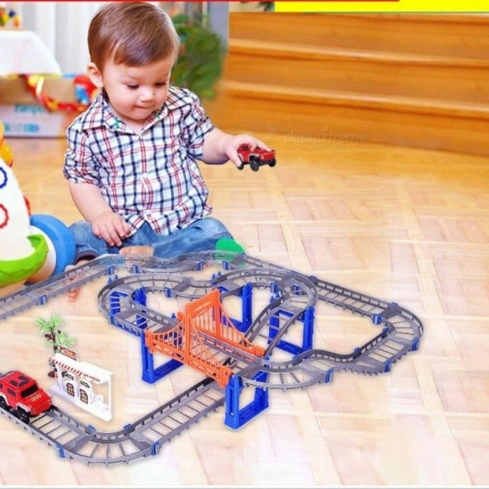Electric-Racing-Rail-Car-Kids-Train-Track-Model-Toy-Baby-Railway-Track-Racing-Road-Transportation-Building-Slot-Sets-2-Colors-grey-with-1-car