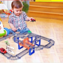 Electric Racing Rail Car Kids Train Track Model Toy Baby Railway Track Racing Road Transportation Building Slot Sets 2 Colors grey with 1 car