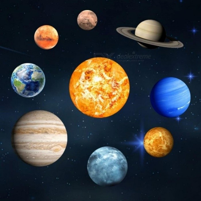 DIY Planets Fluorescent Wall Sticker Removable Glow In The Dark Planets Sticker Luminous Wall Sticker Solar System Wall Mural Solar System