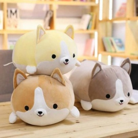 30/45/60cm Cute Corgi Dog Plush Toy Stuffed Soft Animal Cartoon Pillow Lovely Christmas Gift for Kids Kawaii Valentine Present Gray/30CM