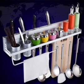 Kitchen Aluminum Pantry Cookware Spice Dinnerware Kitchenware Shelf Storage Utensils Cutlery Rack Holder Organizer With Hooks Aluminum