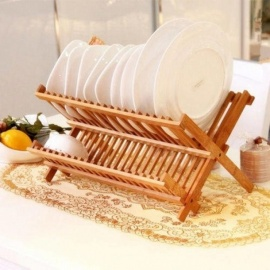 Folding Bamboo Dish Rack Drying Rack Holder Utensil Drainer Plate Storage Holder Plate Wooden Flatware Dish Rack Bamboo