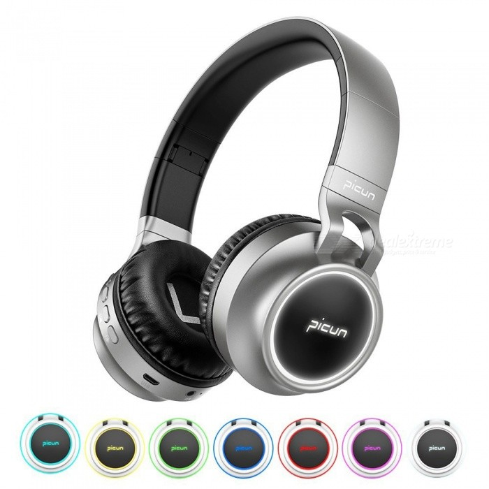 Sound Intone P60 Bluetooth Headphone Bass Wireless Headphones 7 Colors Glow with Mic Support TF Card for Phone Xiaomi iPhone PC