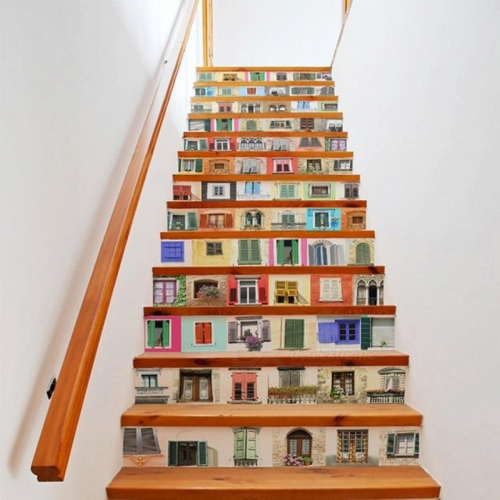 Cute DIY 3D Stair Stickers Fake Bookshelf Stairs Stickers Floor Wall Decor Decals Sticker Living Room Decoration 13PCS/Set