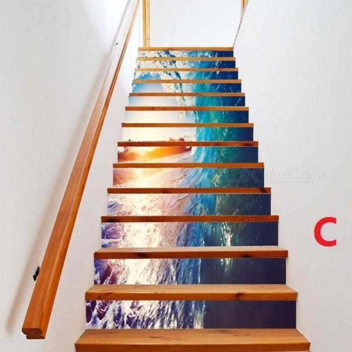 6PCS/Set PVC Cute DIY 3D Stair Stickers Fake Bookshelf Stairs Stickers Floor Wall Decor Decals Sticker Living Room Decoration