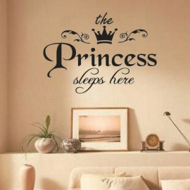 The Prince And Princess Sleeps Here Wall Stickers DIY Stars Cute Crown Nursery Kids Room Decoration Boys Girls A
