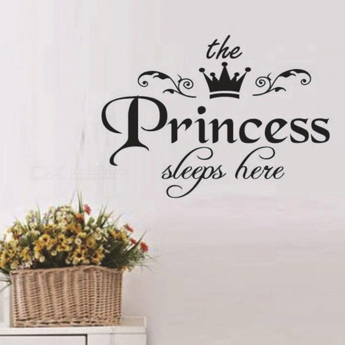 The Prince And Princess Sleeps Here Wall Stickers DIY Stars Cute Crown Nursery Kids Room Decoration Boys Girls