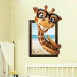 3D Wall Art Cute Glass Giraffe Beach Kids Vinyl Wall Sticker Wallpaper Children Baby Room Decoration Wall Pictures A