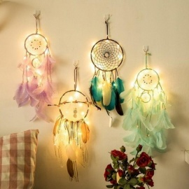 Fairy Lights Battery Operated Indian Dream Catcher Net Bedroom Wall Decor Copper String Light Christmas Gifts For Children Women White