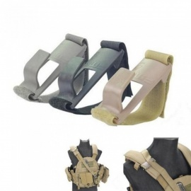 Shoulder Mount Sling Fixed Anchor Hook Clip Molle Chest Rig Black & Desert Black&Grey Color For Option Gray