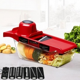 Mandoline Slicer Vegetable Cutter with Stainless Steel Blade Manual Potato Peeler Carrot Cheese Grater Dicer Kitchen Tool green