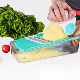 Vegetable Slicer Fruit  Grater  and Cheese Dicer ABS Food Shredder Multifunctional Vegetable Cutter Set with Container Green
