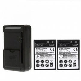 2pcs 1650mah Battery with USB Wall Charger for Samsung Galaxy S2 SII i9100 GT-i9100 Compatible Battery Charger Black