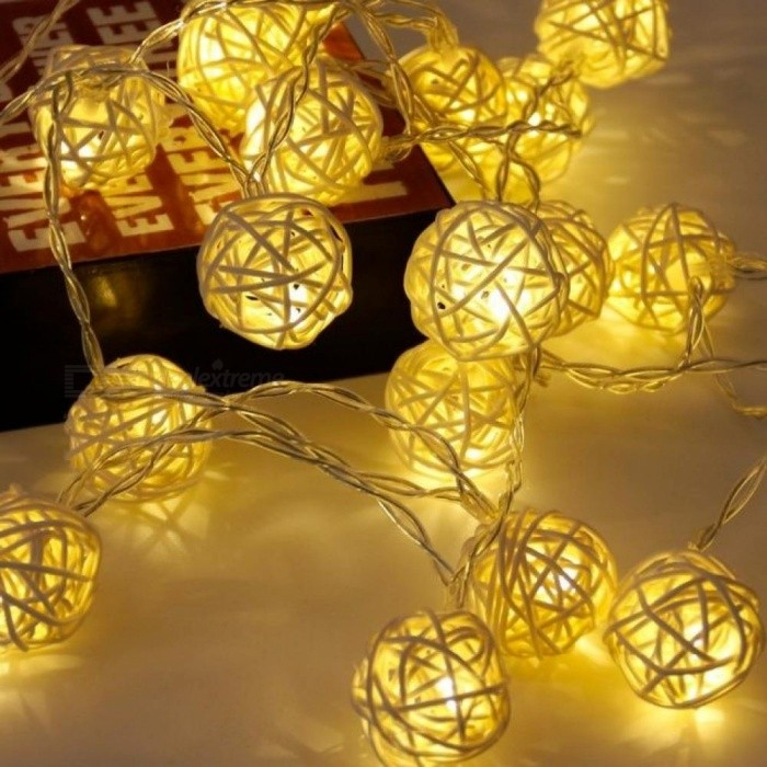 20 Rattan Ball Led String Fairy Lights Christmas Tree Ornaments Xmas Decoration Warm White LED Lights Home Garden Decor White