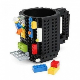 DIY Creative Plastic Mug, Building Blocks Assembled Cups Fun Practical Coffee Mug, Puzzle Christmas Adult Kids Toy Mug Black