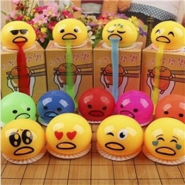 Lovely 12PCS/Set Cute Round Vomiting and Sucking Lazy Egg Yolk Vent Stress Tricky Squeeze Game Relief Toys Yellow Random Color
