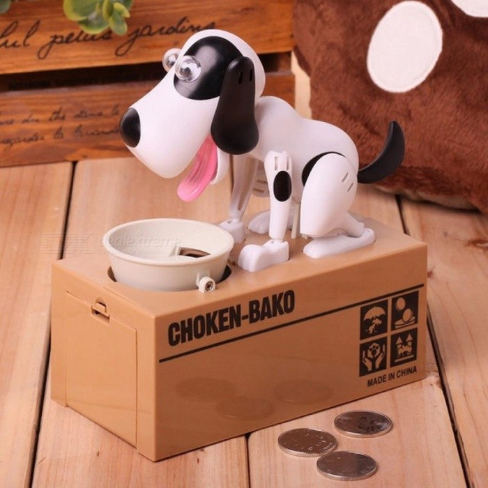 Exotic Products Children Eat Money Dog Puppy Cat Stealing Piggy Bank Electronic Toys Lovely Money Boxes White