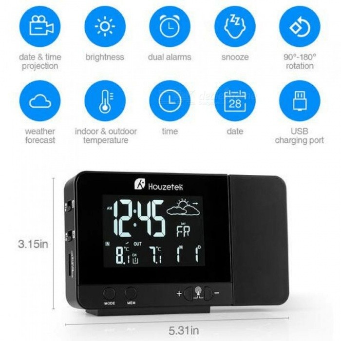 8 Backlights Projection Alarm Clock Snooze Function Digital Clock Smart Outdoor Sensor Weather Clock All-In-One Clock EU Plug