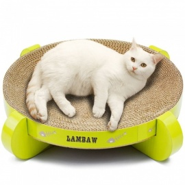 16.9 Inch UFO Cat Scratcher Cat Product Bed Pet Products Couch Cardboard Paper Cat Toys Scratching Pad-Green Color 16.9 Inch