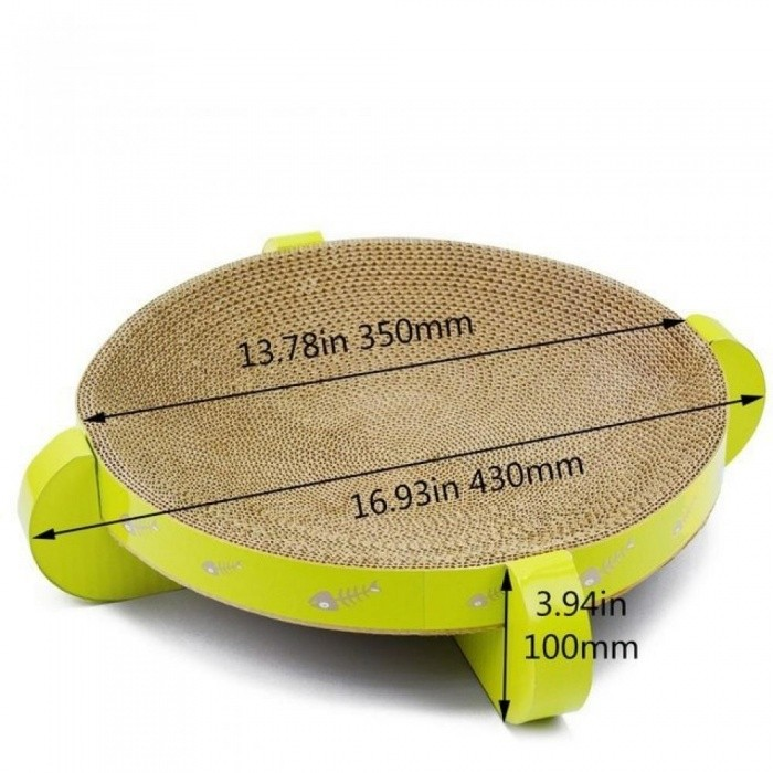 16.9 Inch UFO Cat Scratcher Cat Product Bed Pet Products Couch Cardboard Paper Cat Toys Scratching Pad-Green Color